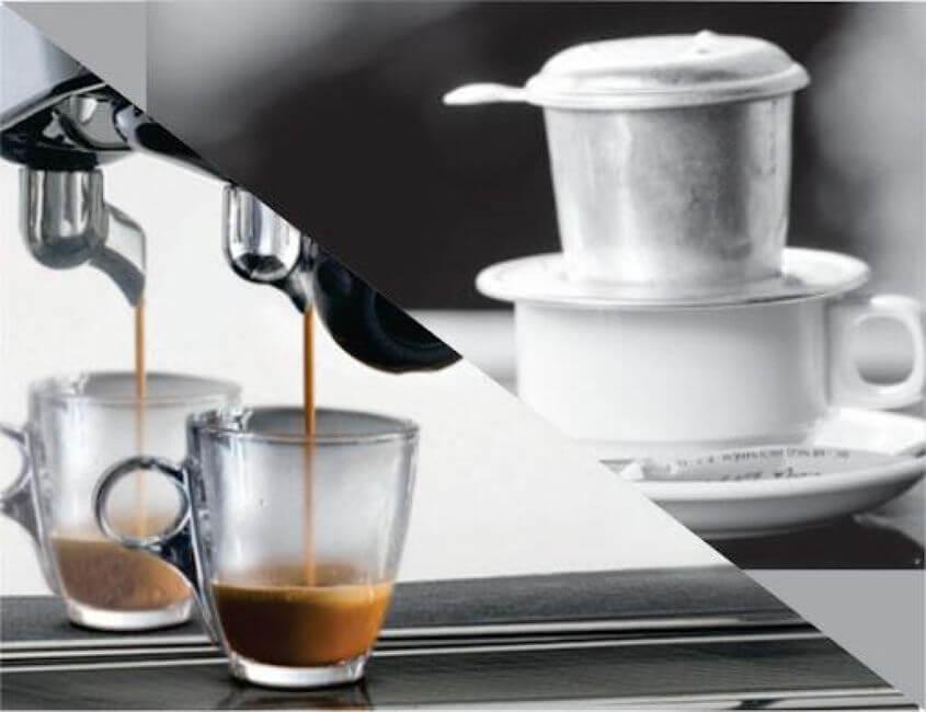 So sánh cafe pha máy và pha phin cái nào lợi hơn và nên sử dụng?